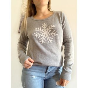 Talbots • snowflake graphic knit sweater small